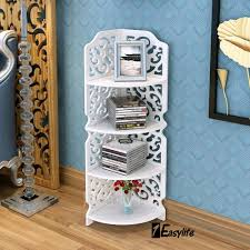 White Storage Bookcase by White Carved 4 Tier Corner Shelf Bookcase Shelving Display Storage