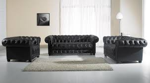 Blue Chesterfield Leather Sofa by Modern Black Leather Sofa Set