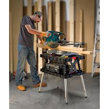 keter folding work table bench u2014 700 lb capacity with extendable