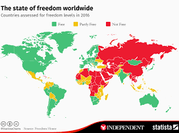 Countries Map The Map That Shows Most And Least Free Countries In The World