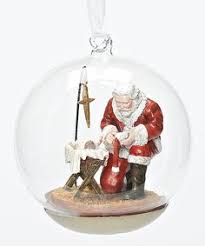 kneeling santa ornament with scripture stable