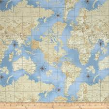 Map Pattern Theory Of Aviation World Map Multi Accent Colors Fabrics And