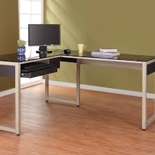 furniture white laminated wooden corner desk which furnished with