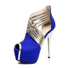 Cobalt Blue High Heels Buy Women U0027s Ultra High Heel Back Zipper Black Grey Prom Shoes