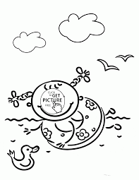 happy little in summer coloring page for kids seasons