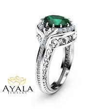 oval emerald ring in 14k white gold unique halo ring oval cut