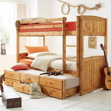 Bunk Bed With Pull Out Bed Cyber Metal Framed Bunk Beds For Kidspace Georgie Solid Pine