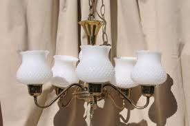Farm Chandelier Vintage Hobnail Milk Glass Shades Chandelier Shabby Cottage Chic