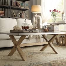 Trestle Coffee Table Aberdeen Industrial Zinc Top Weathered Oak Trestle Coffee Table By