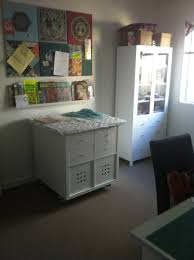 my sewing room cutting table make with ikea kallax cubes ironing