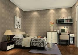light gray wallpaper in elegant bedroom decoration 3d house
