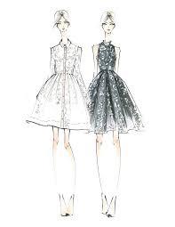 drawn sketch fashion pencil and in color drawn sketch fashion