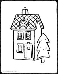 Ein Haus Ein Haus Mit Einem Baum Kiddi Kleurprenten