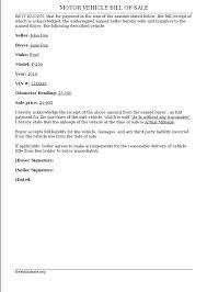 Bill Of Sale Vehicle Pdf by Vehicle Bill Of Sale Free Bill Of Sale