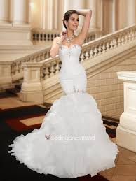 sensual sweetheart ruffles mermaid court train wedding dress on sale