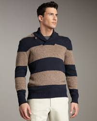 vince rugby stripe shawl collar sweater in brown for men lyst