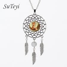 art glass necklace pendant images Suteyi vintage style fox wiggling feather pendant woodland jpg
