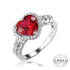 heart ring july birthstone ruby heart ring blazemall