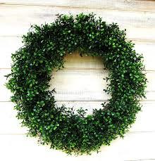 exterior design gren round boxwood wreath summer door wreath