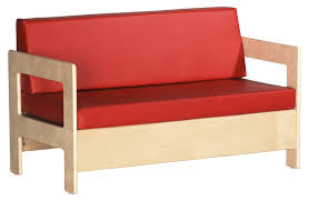birch hardwood preschool living room set sofa with 2 thick red vinyl covered foam cushions elr 0681 ecr 5 jpg