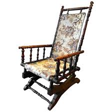 Antique Spindle Rocking Chair Antique Armchair American Rocking Chair Mahogany 19th Century