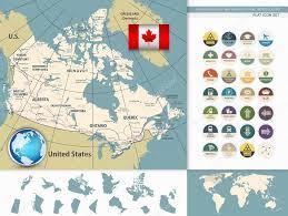 kanada fläche detailkarte und flache icons retro farben stockvektor 86659952