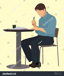 man sitting table reading newspaper stock vector 241122352
