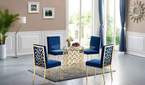 opal dining room set in gold u0026 navy by meridian furniture get