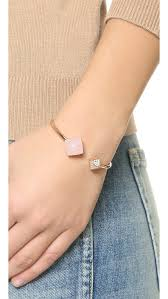 rose quartz gold bracelet images Lyst michael kors rose quartz flex cuff bracelet in pink jpeg