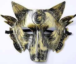samurai wolf head cosplay mask halloween party prom masquerade man