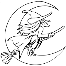 halloween witch flying to the moon coloring page for kid to print