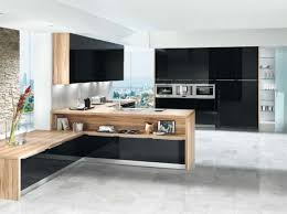 black and wood kitchen shown in black acrylic gloss finish with light matt