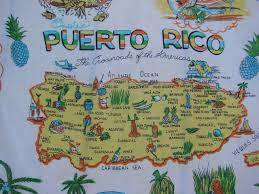 Map Puerto Rico Vintage Puerto Rico Souvenir Silk Scarf With Map Landkarten