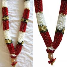 Bridal Garland Red And White Artificial Flower Garland 6 Pieces