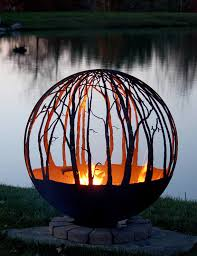 Sphere Fire Pit by Winter Woods Birch Tree Fire Pit