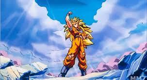 super saiyan 3 goku strikes victory pose winning epic