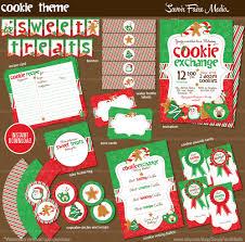 christmas cookie exchange invitation printable bundle cookie