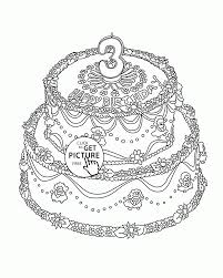 big birthday cake with number 3 coloring page for kids holiday