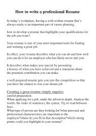 Well Written Resumes How To Write Perfect Resume How To Write A Good Resume 6 How To
