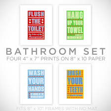 kids room art bathroom decor set of 4 prints by order of the