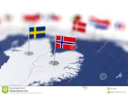 Flag Im Norwegen Flagge Im Fokus Europa Karte Mit Landflaggen Stock