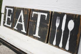 eat fork spoon knife sign blocks wall art rustic country