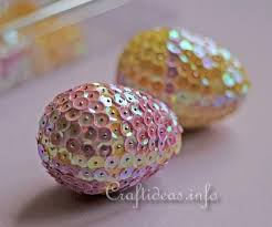 styrofoam easter eggs craft for easter easter eggs decorated with sequins