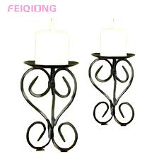 Iron Candle Wall Sconce Metal Candle Holders 2 Colors Wedding Gift Metal Lantern Iron