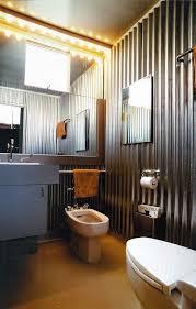 corrugated metal planter box bathroom industrial with powder room