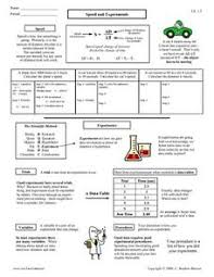 speed and experiments worksheet scientific method pinterest