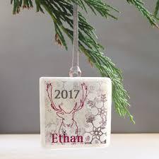 personalised reindeer arctic christmas tree decoration by