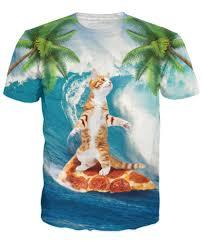 Surf Shirt Meme - orange tabby cat surfing on pizza all over print tee shirt t shirt