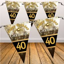 Happy Birthday Flags Personalised Black U0026 Gold Sparkle Happy Birthday Flag Bunting