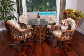 Dining Room Chairs With Casters by Furniture Brown Wicker Dining Room Chairs With Casters And